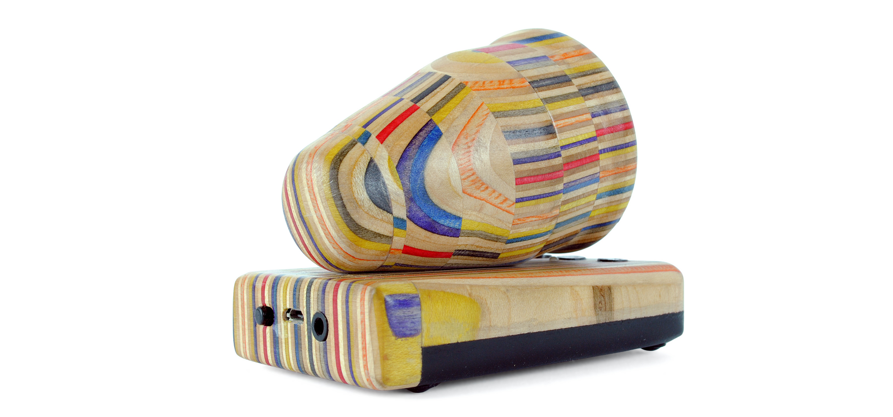 Handcrafted recycled skateboard bluetooth speaker