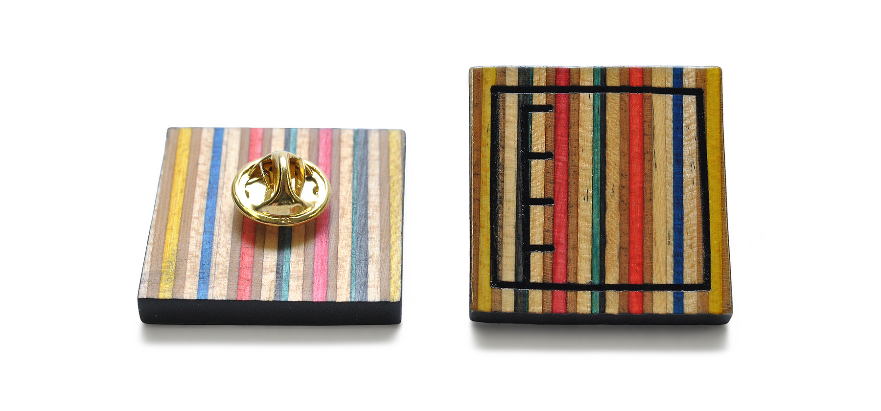 recycled skateboards lapel pins